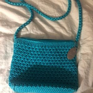 Lina teal crochet purse